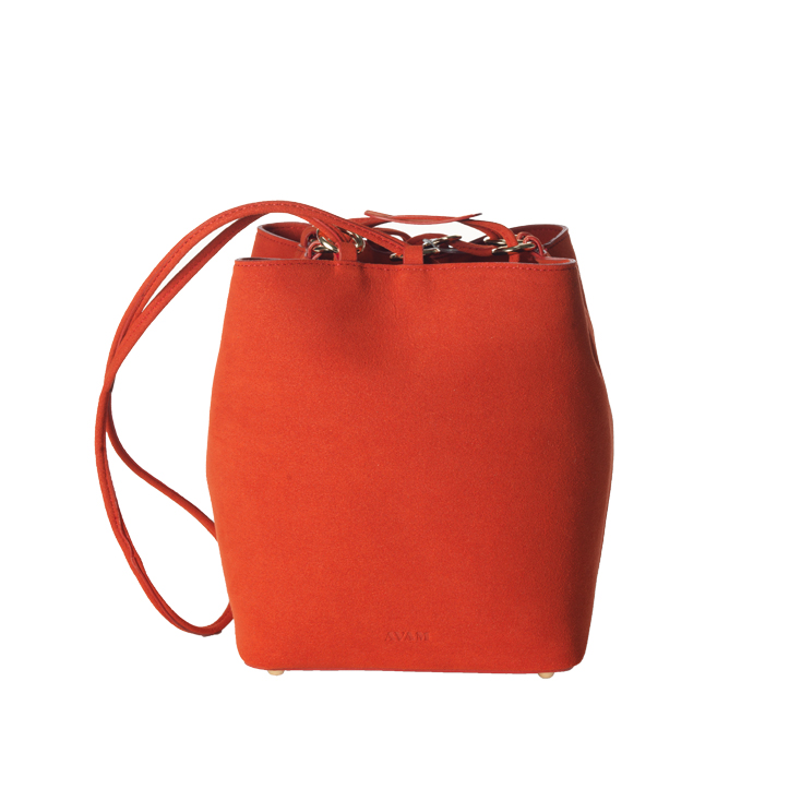 Orange Red Camille mini bucket bag