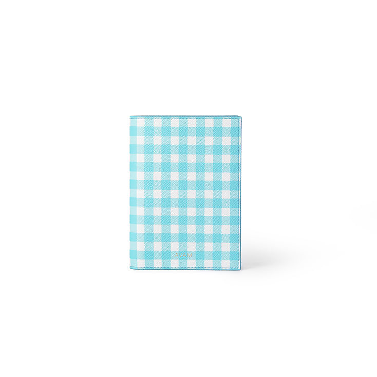 Gingham Passport Case (Blue)